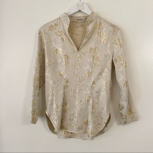 Equipment Top Long Sleeve Popover Gold Floral Print Side Zip